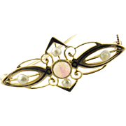 Vintage 10 Karat Yellow Gold Opal and Pearl Brooch