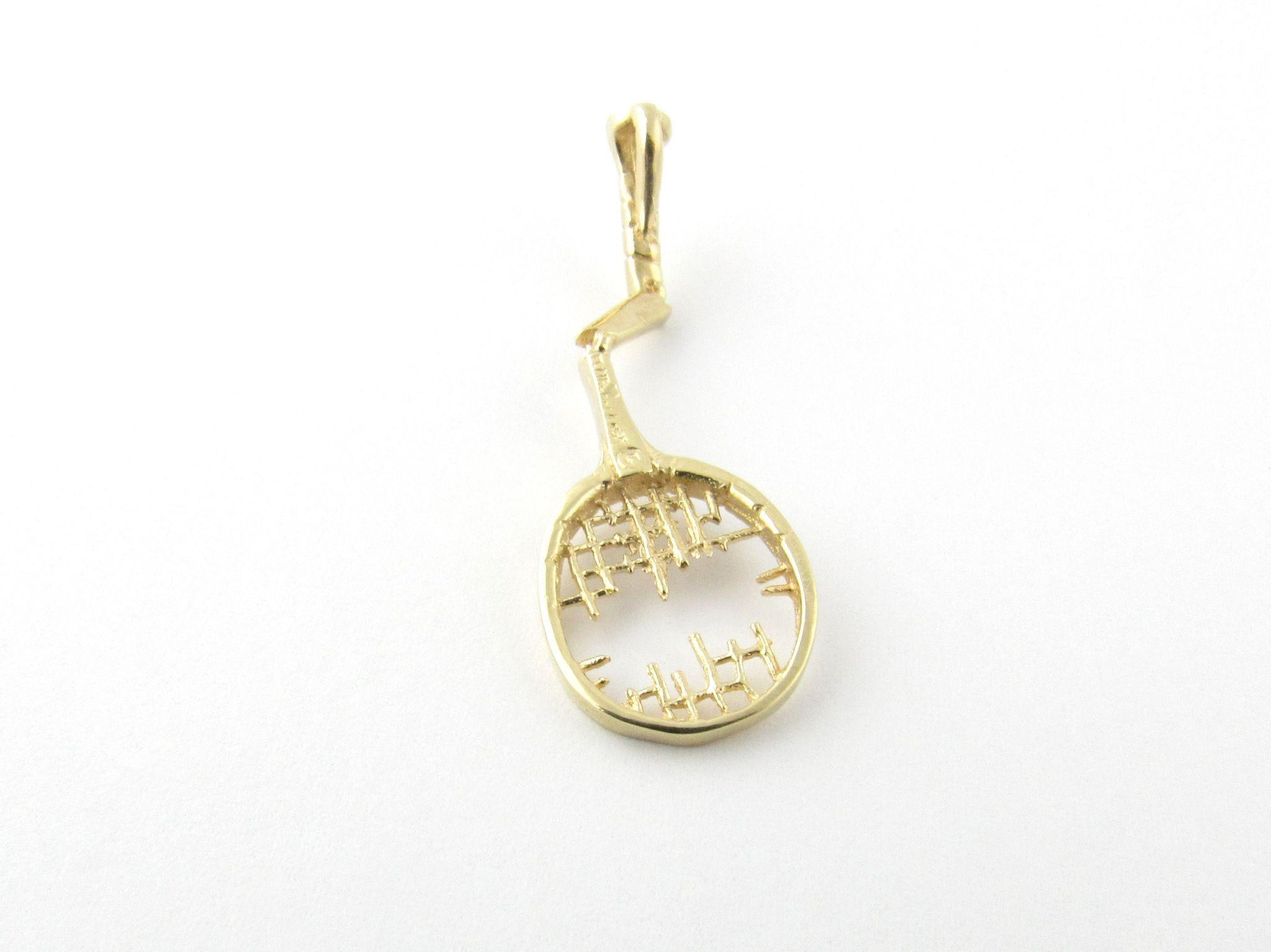 Vintage 14 karat yellow gold broken tennis racket pendant sold on roll over large image to magnify click large image to zoom mozeypictures Choice Image