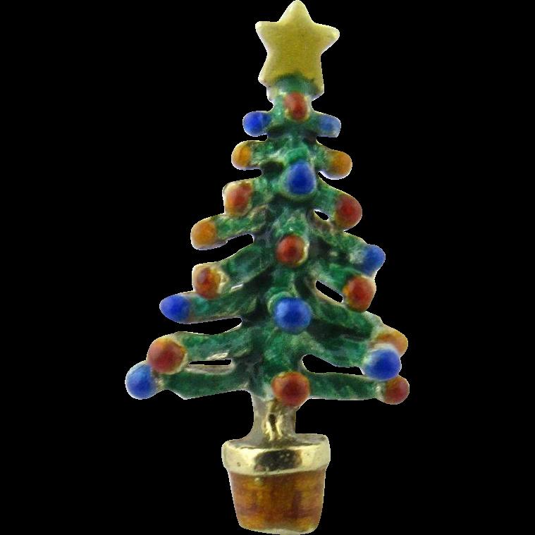 Christmas Tree Shop Connecticut: Vintage 14 Karat Yellow Gold Enamel Christmas Tree Tie