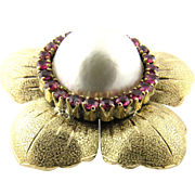 Vintage 14 Karat Yellow Gold Mobe Pearl and Ruby Flower Pendant