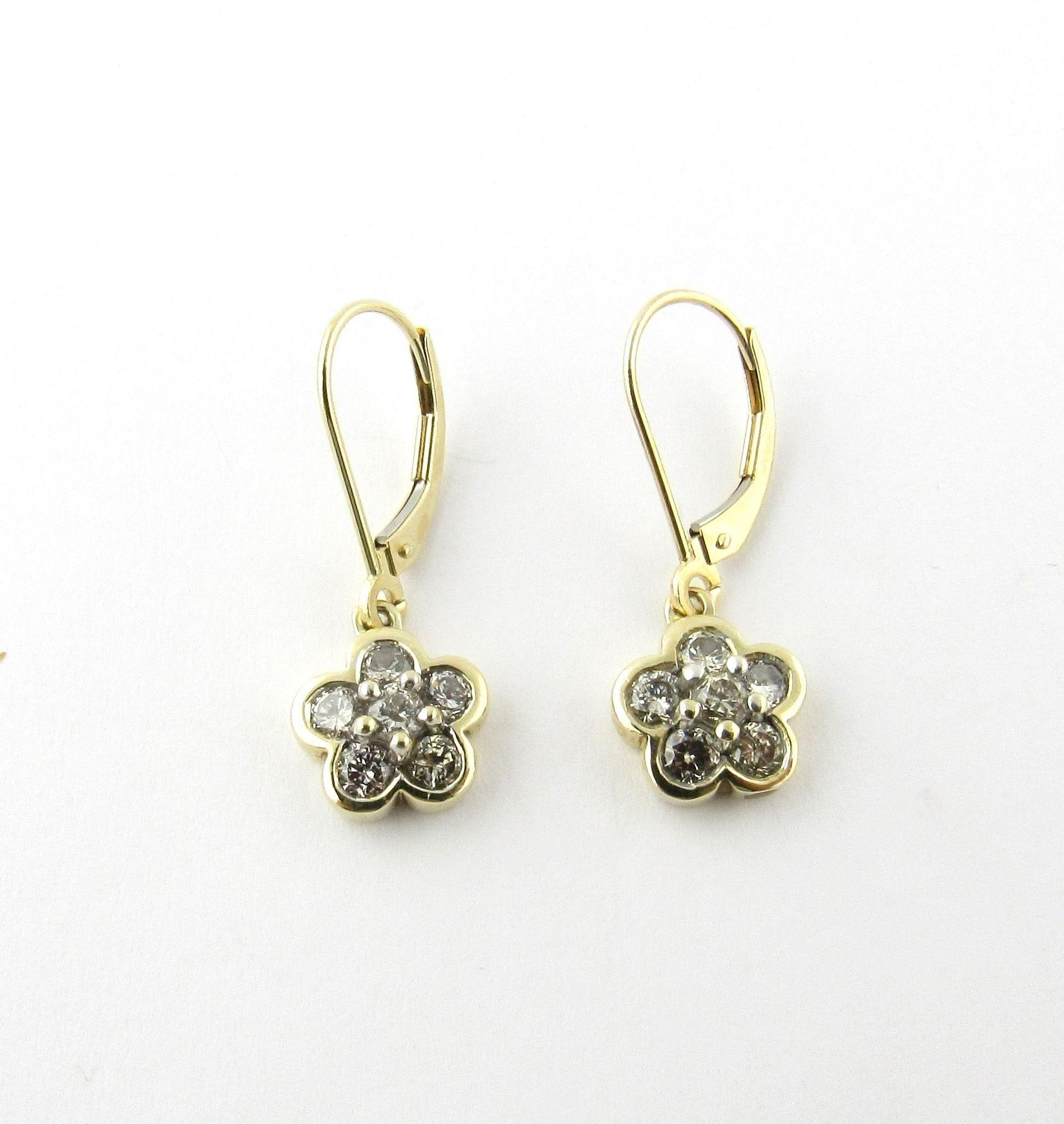 Vintage 14K Yellow Gold and Diamond Floral Dangle Earrings from ctgoldcustome
