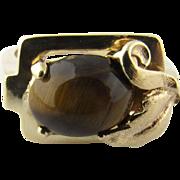 Vintage 14 Karat Yellow Gold Tiger's Eye Ring Size 3.75