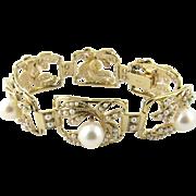Vintage 14 Karat Yellow Gold Pearl Bracelet