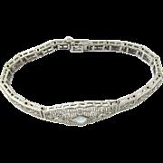 Vintage 14 Karat White Gold Aquamarine and Diamond Bracelet