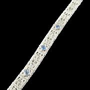 Vintage 14 Karat White Gold and Aquamarine Art Deco Bracelet