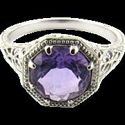 Vintage 14 Karat White Gold Amethyst Ring Size 6.5