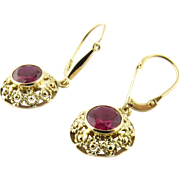 Vintage 18 Karat Yellow Gold Synthetic Ruby Earrings