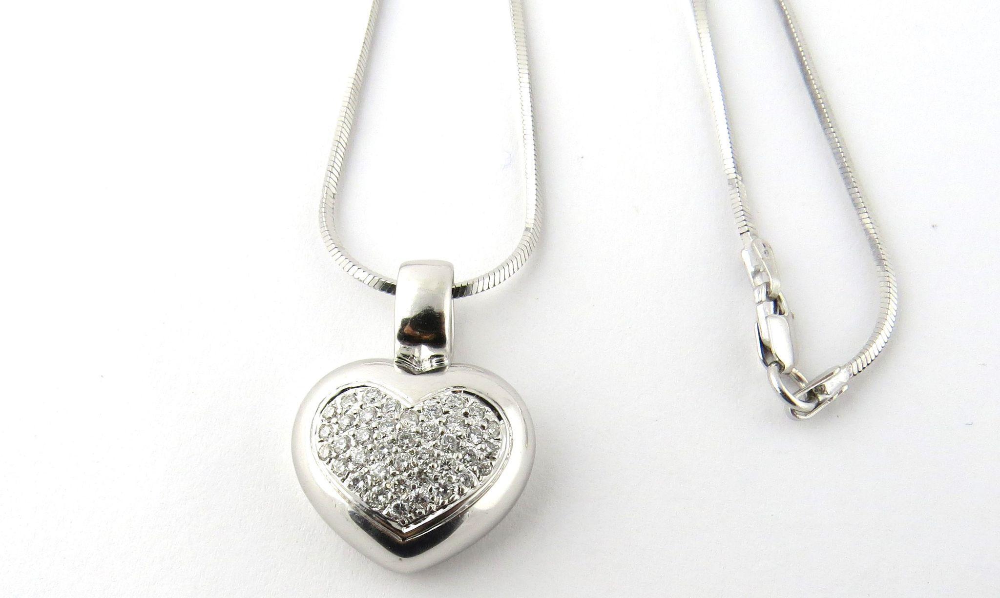 Vintage 18K White Gold Diamond Heart Pendant Necklace Snake Chain