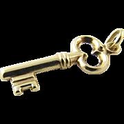 Vintage 14 Karat Yellow Gold Skeleton Key Charm