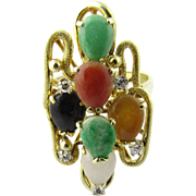 Vintage 14K Yellow Gold Multi Color Jade Ring Size 7