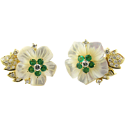 Vintage 18K Yellow Gold Emerald and Diamond Floral Earrings MOP