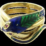 Vintage 18 Karat Yellow Gold and Enamel Snake Ring Size 5