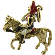 Vintage 9 Karat Yellow Gold and Enamel British Soldier on Horse Charm