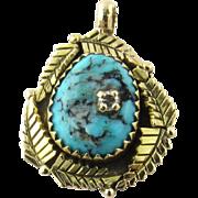 Vintage 14 Karat Yellow Gold Turquoise and Diamond Pendant