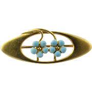 Vintage 10 Karat Yellow Gold and Turquoise Brooch