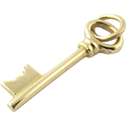Vintage 14 Karat Yellow Gold Skeleton Key Charm