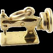 Vintage 14 Karat Yellow Gold Articulated Sewing Machine Charm