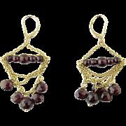 Vintage 14 Karat Yellow Gold Garnet Earrings