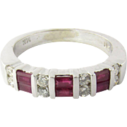 Vintage 14K White Gold Diamond and Ruby Band Size 7.75