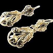 Antique Victorian 14 Karat Yellow Gold and Enamel Earrings