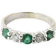 Vintage 14K White Gold Diamond and Emerald Band Size 8.5