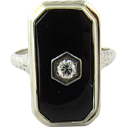 Vintage 18K White Gold Black Onyx Diamond Ring Size 7
