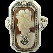 Vintage 14K White Gold Flip Cameo, Black Onyx, Ring Size 3