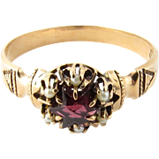 Vintage 10K Yellow Gold, Amethyst and Seed Pearl Size 7.5