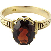 Vintage 14K Yellow Gold and Garnet Size 7