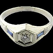 Vintage 14 K White Gold Diamond Sapphire Ring, Size 3.5