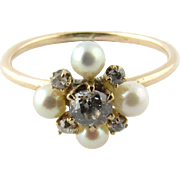 Antique 14K Yellow Gold Diamond Seed Pearl Floral Ring, Size 3.5