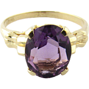 Vintage 14K Yellow Gold and Genuine Amethyst Ring, Size 7