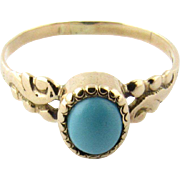 Vintage 14K Yellow Gold Turquoise Ring Size 5