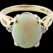 Vintage 14K Yellow Gold, Opal Diamond Ring, Size 5.5