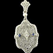Vintage Art Deco 14K White Gold Sapphire Diamond Filagree Pendant