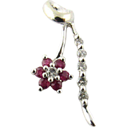 Vintage 14K White Gold Diamond and Ruby Floral Pendant