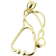 Vintage 14K Yellow Gold Stethoscope Charm