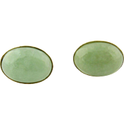 Vintage 14K Yellow Gold  Oval Jade Stud Earrings