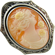 Vintage 10K White Gold Cameo Pin