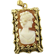 Vintage 14K Yellow Gold Cameo Pendant
