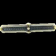 Vintage 14K Yellow Gold Enamel Seed Pearl Bar Pin