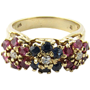 Vintage 14K Yellow Gold Ruby, Sapphire and Diamond Floral Ring Size 6.5