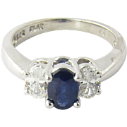 Vintage Platinum Diamond and Sapphire Ring Size 5