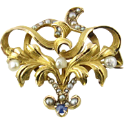 Antique Victorian Seed Pearl and Sapphire Brooch