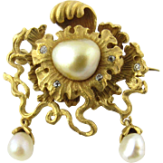 Antique Victorian 14K Yellow Gold Pearl Diamond Brooch