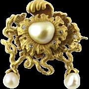 Antique Victorian 14K Yellow Gold Pearl Diamond Brooch