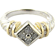 Vintage 14 Karat White and Yellow Gold Diamond Ring