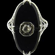 Vintage Art Deco 18 Karat White Gold Onyx and Diamond Ring
