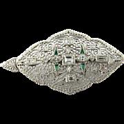 Vintage 14 Karat White Gold Diamond and Emerald Pendant/Brooch