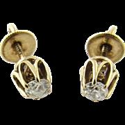 Antique 14 Karat Yellow Gold Diamond Stud Earrings